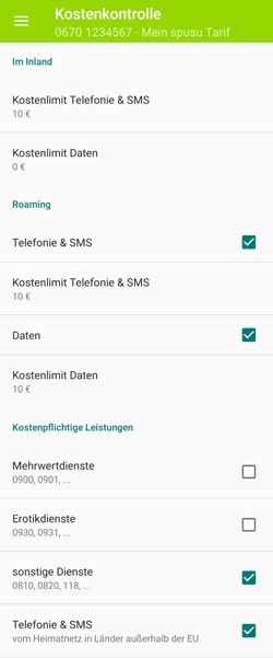 Screenshot App Kostenkontrolle